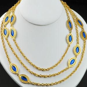 "Cobalt Blue Glass Cabachonl Flapper Necklece 44"" l"
